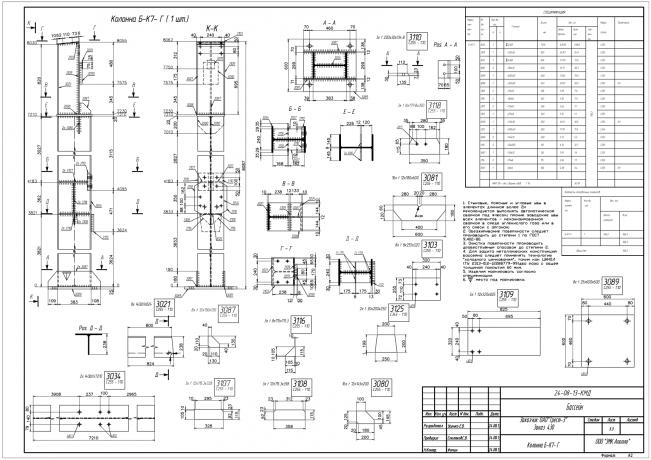 Образец чертежа КМД колонна