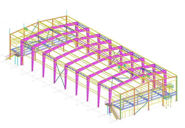 3D модель здания из металлоконструкций
