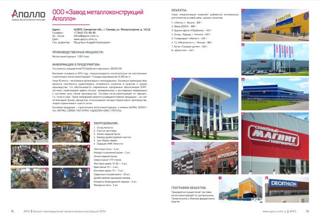 Страница каталога производителей металлоконструкций 2016 ЗМК Аполло